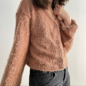 NWOT SHEIN  FUZZY DROP SHOULDER CARDIGAN - S